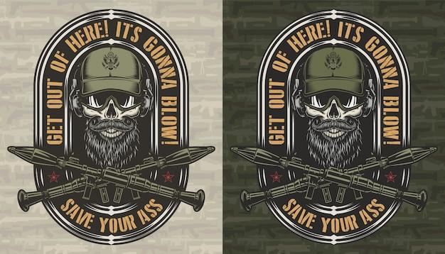 Vintage colorido militar y etiqueta del ejército