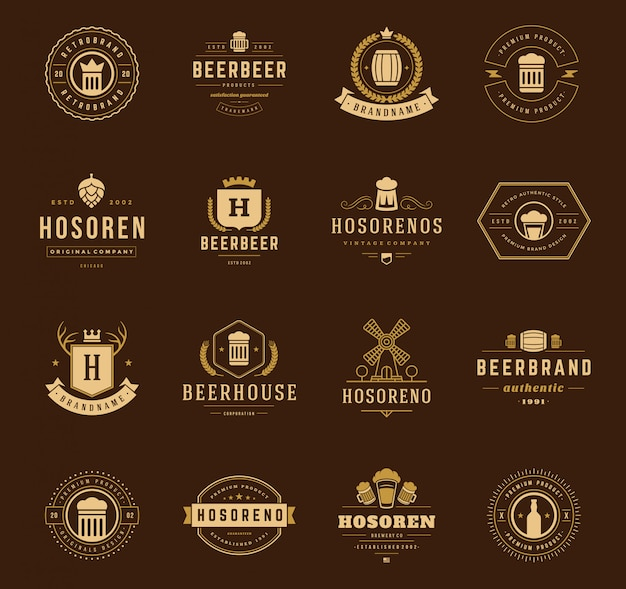 Vintage coronas logotipos y emblemas setv ector elementos de diseño