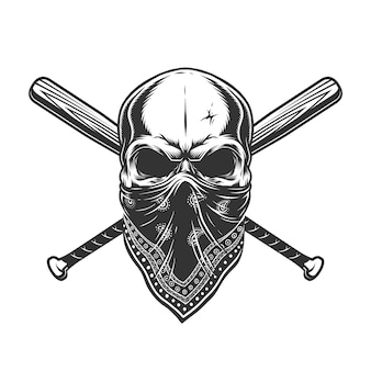 Vintage cráneo monocromo en bandana