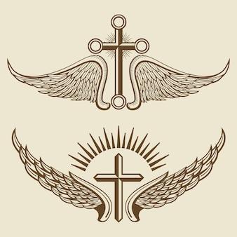 Vintage cruz y alas vector elementos
