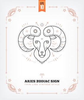 Vintage delgada línea aries etiqueta del signo del zodiaco. símbolo astrológico retro, místico, elemento de geometría sagrada, emblema, logotipo. ilustración de contorno de trazo aislado en blanco