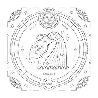 Vintage delgada línea etiqueta de signo del zodiaco de acuario. símbolo astrológico retro, místico, elemento de geometría sagrada, emblema, logotipo. ilustración de contorno de trazo sobre fondo blanco