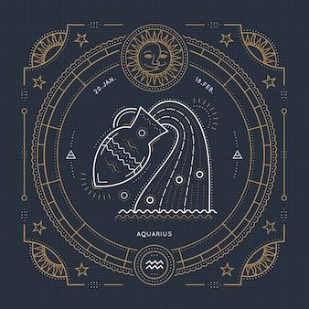 Vintage delgada línea etiqueta de signo del zodiaco de acuario. símbolo astrológico retro, místico, elemento de geometría sagrada, emblema, logotipo. ilustración de contorno de trazo