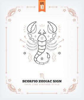 Vintage delgada línea etiqueta de signo del zodiaco escorpio. símbolo astrológico retro, místico, elemento de geometría sagrada, emblema, logotipo. ilustración de contorno de trazo aislado en blanco