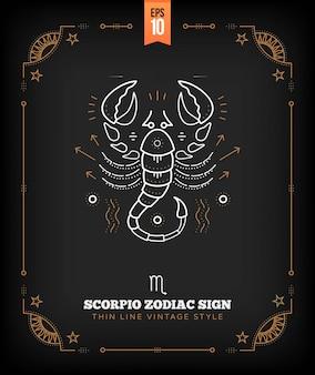 Vintage delgada línea etiqueta de signo del zodiaco escorpio. símbolo astrológico retro, místico, elemento de geometría sagrada, emblema, logotipo. ilustración de contorno de trazo
