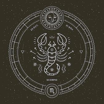 Vintage delgada línea etiqueta de signo del zodiaco escorpio. vector retro símbolo astrológico, místico, elemento de geometría sagrada, emblema, logotipo. ilustración de contorno de trazo