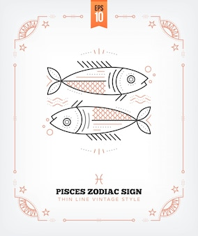 Vintage delgada línea etiqueta de signo del zodiaco de piscis. símbolo astrológico retro, místico, elemento de geometría sagrada, emblema, logotipo. ilustración de contorno de trazo aislado en blanco