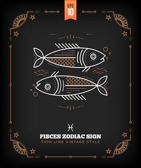 Vintage delgada línea etiqueta de signo del zodiaco de piscis. símbolo astrológico retro, místico, elemento de geometría sagrada, emblema, logotipo. ilustración de contorno de trazo