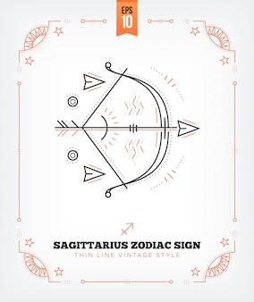 Vintage delgada línea sagitario etiqueta del signo del zodiaco. símbolo astrológico retro, místico, elemento de geometría sagrada, emblema, logotipo. ilustración de contorno de trazo aislado en blanco
