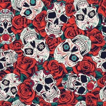 Vintage día de muertos de patrones sin fisuras