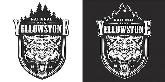Vintage emblema del parque nacional de yellowstone