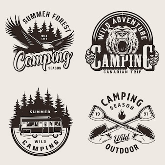Vintage emblemas de camping de verano