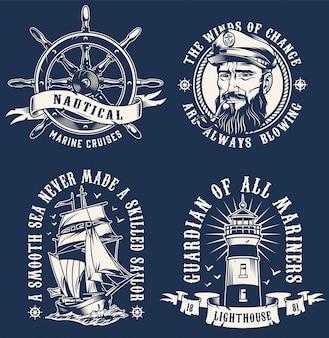 Vintage emblemas marinos