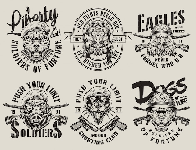 Vintage emblemas monocromos militares