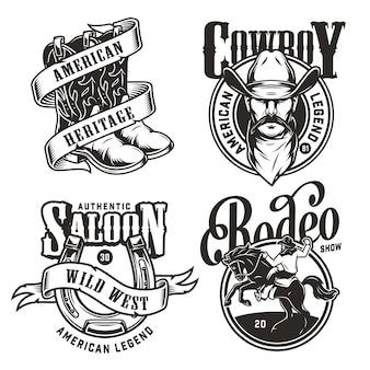 Vintage emblemas del salvaje oeste