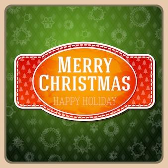 Vintage estilizada etiqueta roja feliz navidad, con textura y cinta con árboles de navidad