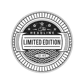 Vintage etiqueta monocromática negra grunge textura decoración retro círculo banner sobre fondo blanco.