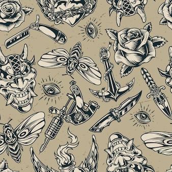 Vintage flash tatuajes monocromo de patrones sin fisuras