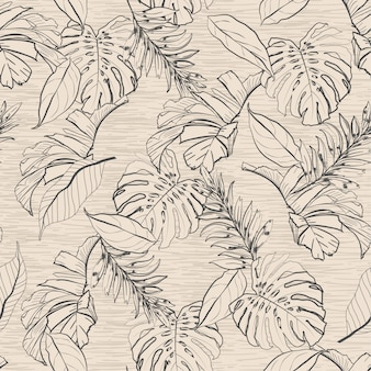 Vintage floral y hojas tropicales de patrones sin fisuras,