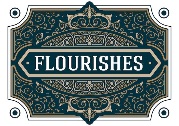 Vintage florece adorno remolinos líneas marco plantilla ilustración