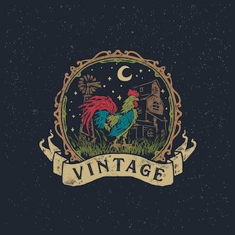 Vintage gallo granja y gallina dibujado a mano ilustración