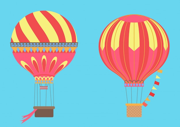 Vintage globos de aire caliente en el cielo