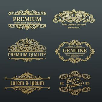 Vintage golden s etiquetas marcos.