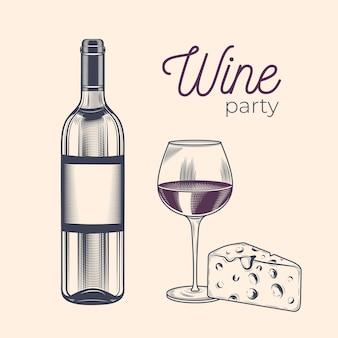 Vintage grabado botella de vino, copas de vino y queso