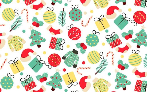 Vintage handdrawn de patrones sin fisuras con elementos navideños