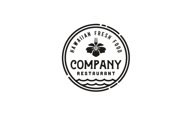 Vintage hawaii restaurant / poke bar logo emblem