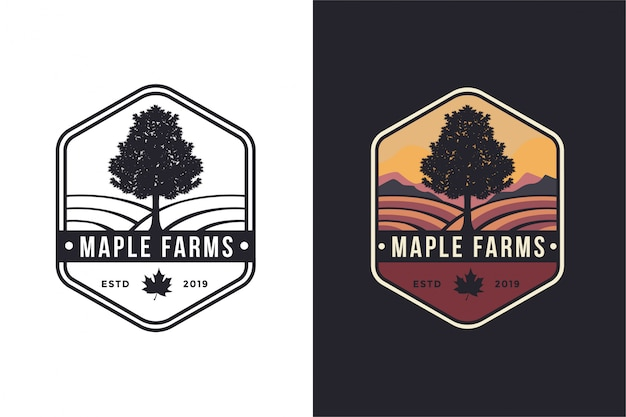 Vintage hipster emblema arce árbol y granjas logo