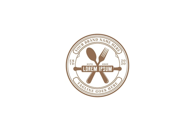Vintage hipster rolling pin con cuchara tenedor para cafe bakery restaurant logo design vector