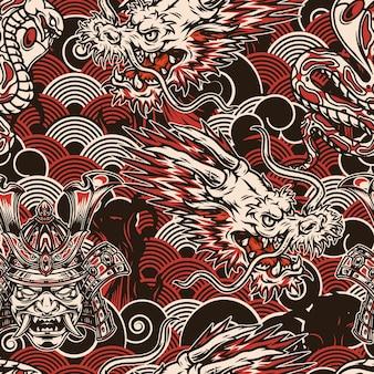 Vintage japonés de patrones sin fisuras en estilo monocromo con máscara de samurai de cabeza de dragón de fantasía de serpiente venenosa en casco sobre olas