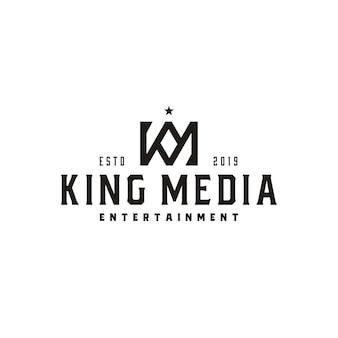 Vintage king crown letra km o km mk monograma logo