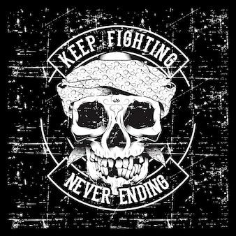 Vintage lema de cráneo y puños con motivación.
