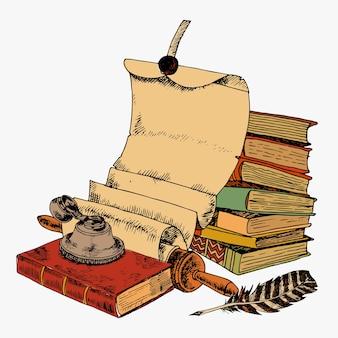 Vintage libros con pluma de desplazamiento de papel y tetera de tinta de color esbozo decorativo concepto ilustración vectorial
