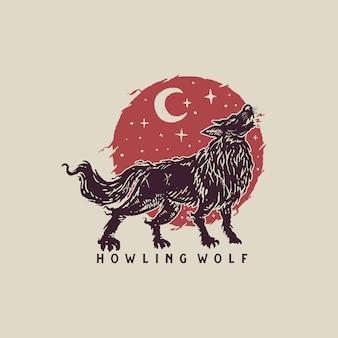 Vintage lobo aullando dibujado a mano ilustración