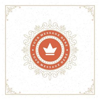 Vintage logo corona plantilla vector elegante florece adornos