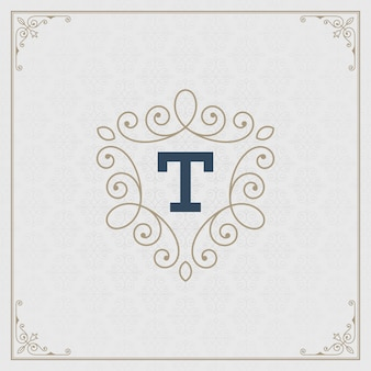 Vintage logo elegante adornos florece