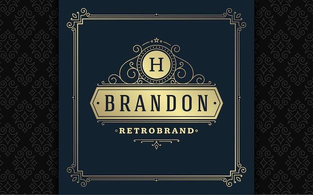 Vintage logo elegante florece arte de línea elegante adornos estilo victoriano diseño de plantilla de vector