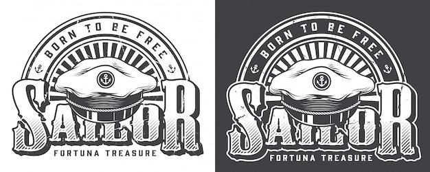 Vintage logo marino y náutico