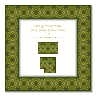 Vintage marco 3d de flor de cinta dorada verde