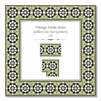 Vintage marco 3d de geometría de estrella de línea dorada islámica