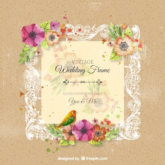 Vintage marco de la boda ornamentales con flores