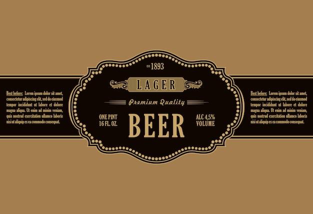Vintage marco etiqueta etiqueta botella cerveza
