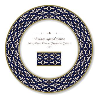 Vintage marco retro redondo azul marino flor crema japonesa