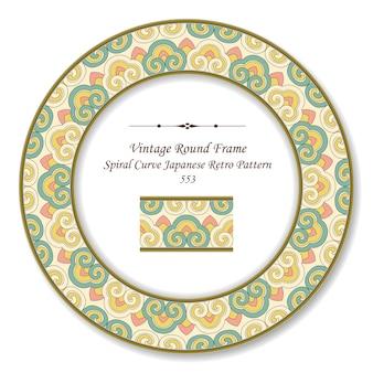 Vintage marco retro redondo curva espiral patrón retro japonés