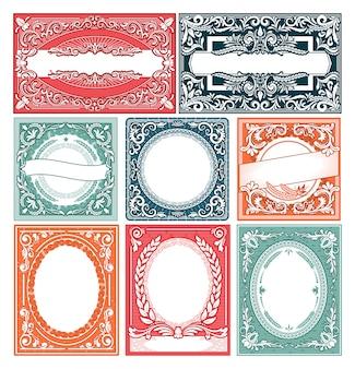 Vintage marco vector retro tarjeta frontera victoriana diseño decoración conjunto