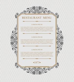 Vintage menú restaurante elementos de diseño tipográfico, plantilla elegante caligráfica,