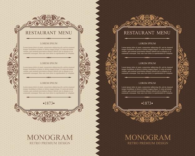 Vintage menú restaurante elementos de diseño tipográfico, plantilla elegante caligráfica